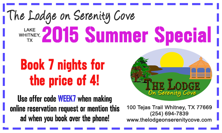 Lake Whitney Weekly Rate Special